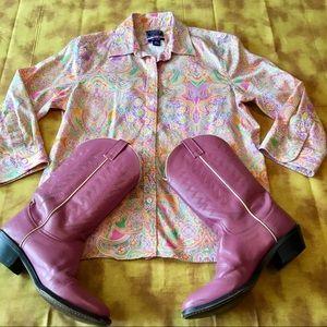 Chaps hippie boho cowgirl shirt! 🤠☮️💗